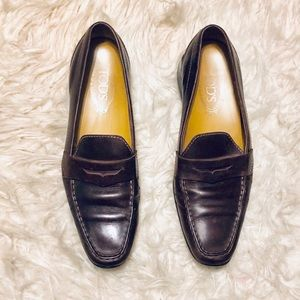 Tods Brown Leather Driving Moccasins